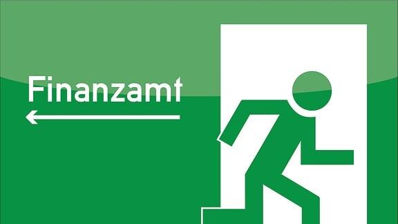 """Ein Piktogramm symbolisiert Steuerflucht, indem es einen nach links zeigenden und mit """"Finanzamt"""" beschrifteten Pfeil abbildet und rechts das gängige Fluchtwegsymbol, auf dem ein Mensch durch eine offene Tür flüchtet."""