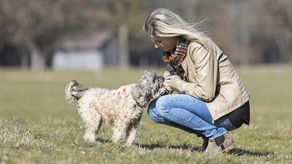 Eine Frau lässt einen Hund aus der Hand fressen