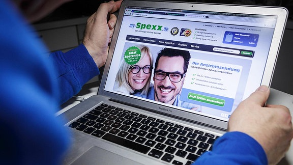 Computerbildschirm mit der Seite von My Spexx.