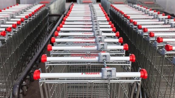 Einkaufswagen vor Auchan-Supermarkt
