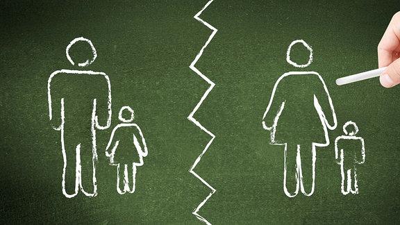 Illustration -  Kinder-Wechselmodell nach Scheidung