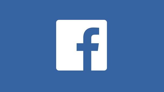 """Das weiße Facebook-Logo auf blauem Hintergrund. Das Logo besteht aus einem weißen Quadrat mit runden Ecken, in dem ein kleines """"F"""" eingestanztz ist. Das """"F"""" steht für Facebook."""