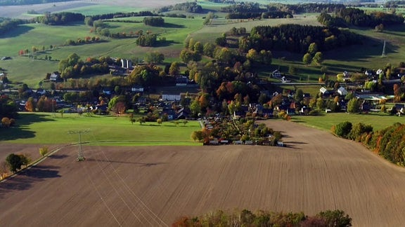 Luftansicht von Affalter in Sachsen