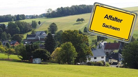 Grafik vom Dorf Affalter in Sachsen mit Ortseingangsschild