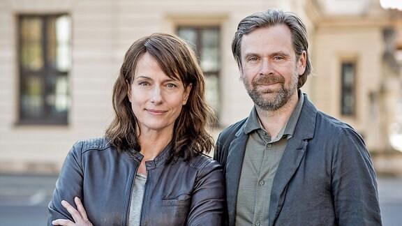Claudia Michelsen als Hauptkommissarin Doreen Brasch und Matthias Matschke als Hauptkommissar Dirk Köhler