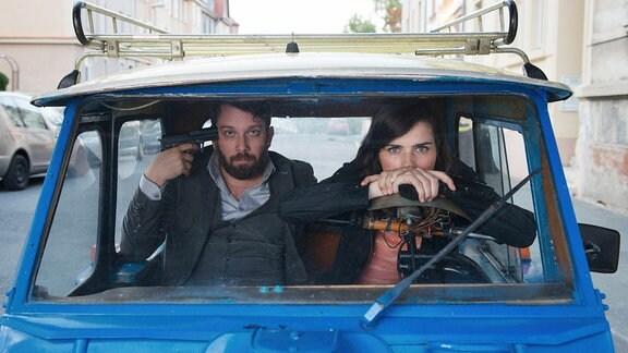 Nora Tschirner (Rolle: Kira Dorn) und Christian Ulmen (Rolle: Lessing)