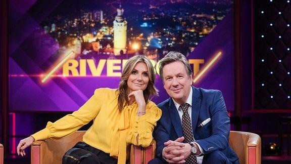 Das Riverboat-Moderatoren-Team Kim Fisher und Jörg Kachelmann