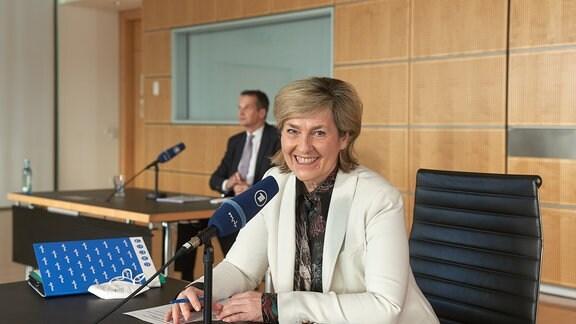 MDR-Intendantin Karola Wille bei der MDR-Jahrespressekonferenz 2021