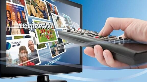 Eine hand mit fernbedienung vor einem Fernseher mit MDR-Programmen