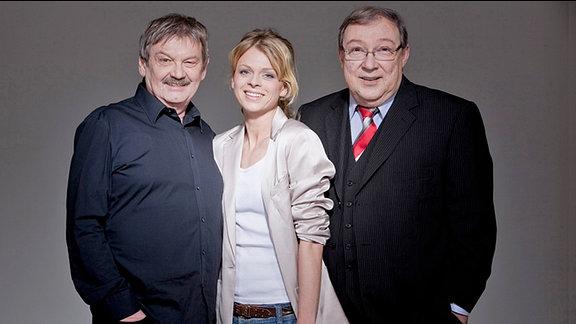 Die MDR-Polizeiruf-Kommissare Herbert Schneider (Wolfgang Winkler), Nora Lindner (Isabell Gerschke) und Herbert Schmücke (Jaecki Schwarz) (v.l.)