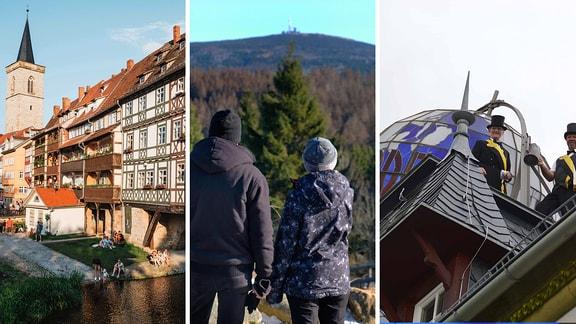 Fotocollage aus drei Bildern: eine Fachwerkhausbrücke, ein Pärchen blickt auf ein Gebirge und Männer in Zimmereitracht auf einem Dach