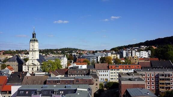 Blick vom Rathausturm über Gera mit der Salvatorkirche