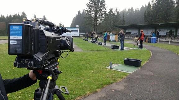 Kameraaufnahme im Schießsportzentrum Suhl.