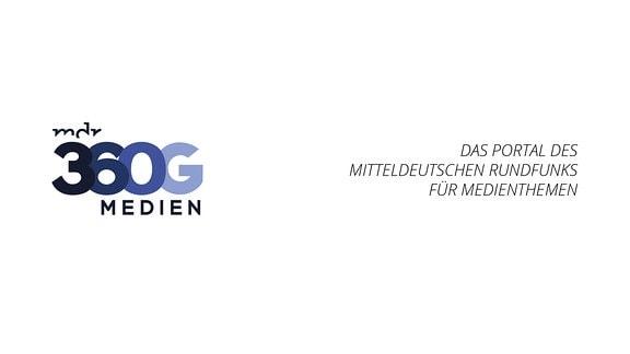 Logo der Sendung Medien360g, auf weißem Untergrund steht: Das Portal des Mitteldeutschen Rundfunks für Medienthemen.