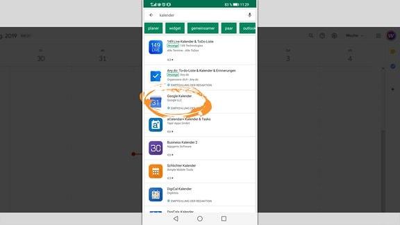 Grafische Anleitung zum Abonnieren des MDR Wissen Weltraumkalenders auf Handy mit Android-Betriebssystem