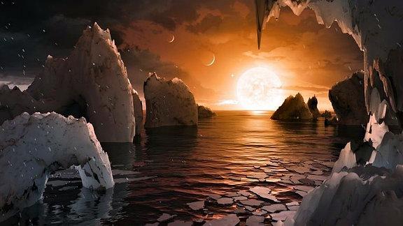 Der Exoplanet Trappist-1, 40 Lichtjahre von der Erde entfernte im Sternbild Wassermann