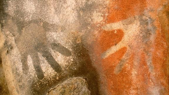 Aborigines Hand-Abdruck in Höhle