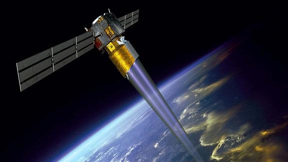 Der AEOLUS-Satellit misst Windströme in der oberen Erdatmosphäre.