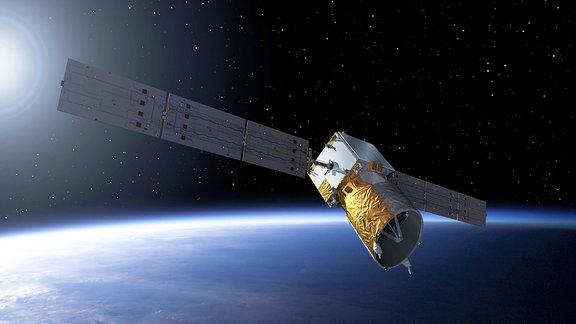 Der AEOLUS-Satellit umkreist die Erde.