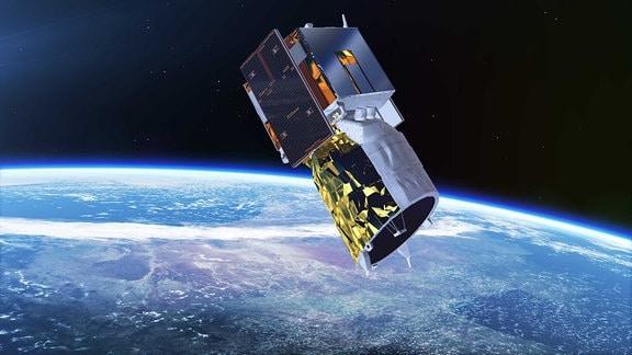 Der Aeolus-Satellit nach der Abtrennung von seiner Vega-Trägerrakete.