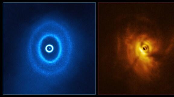 Linke Seite: Grafik auf Basis der Daten vom Radioteleskop ALMA, rechts Visualisierung der Daten des SPHERE Instruments