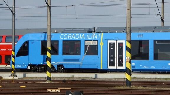"""Blauer Zug mit Wasserstoffantrieb und Schriftzug """"Coradia iLint"""" an einem Bahnsteig, im Hintergrund ein roter Regionalzug"""