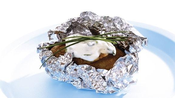 gebackene Kartoffel in Alufolie