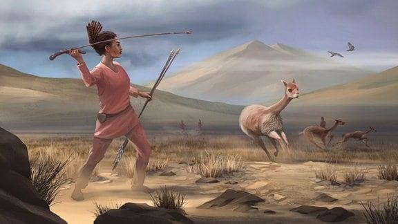 Illustration einer weiblichen Jägerin, die vor 9.000 Jahren in den Anden jagte