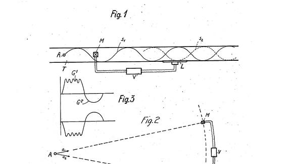 Ein Patentbogen mit mit etwas Text und verschiedenen schwarz-weiß-Zeichnungen, z.B. Wellenlinie mit Gegen-Wellenlinie