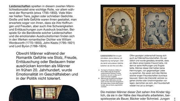 Die Doppelseite zeigt links unten ein Gemälde mit dem Suizid des 17-jährigen Dichters Thomas Chatterton und rechts oben zwei Fotografien von Soldaten aus dem amerikanischen Bürgerkrieg in engem Hautkontakt mit ihren besten Freunden.