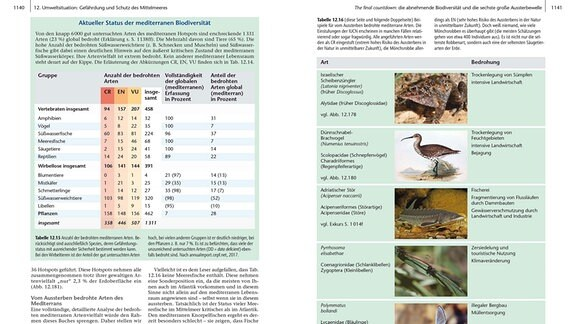 Aufgeschlagene Buchseiten mit dem Thema Biodiversität