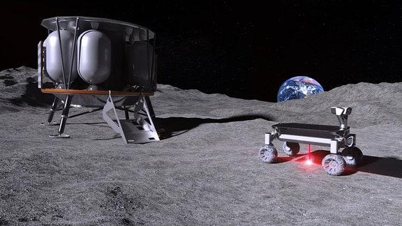 Visualisierung: Zweu technische Geräte auf dem Mond bauen mithilfe eines Laserstrahls eine Raumschiff-Start- und Landebahn.
