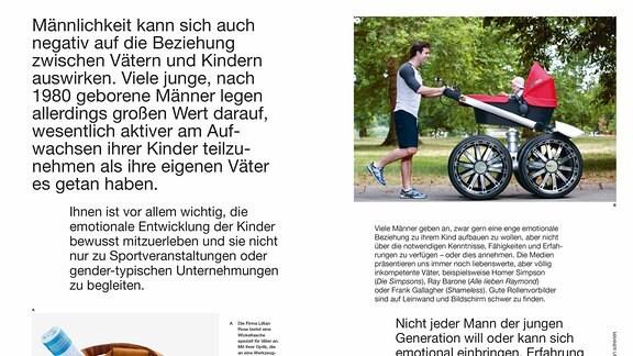 Eine Doppelseite aus dem Buch. Die beiden Bilder zeigen eine Wickeltasche mit der Optik eines Werkzeugkastens und einen Kinderwagen mit Elementen eines großen Autos.