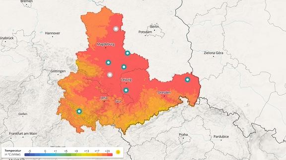 Ein Screenshot, der die interaktive Klimakarte zeigt.