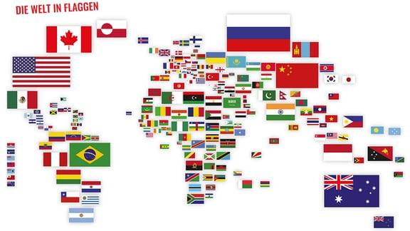 Weltkarte aus Flaggen aus 'Spaß mit Flaggen'