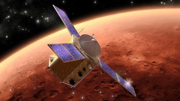 Künstlerische Darstellung der arabischen Mars-Raumsonde Hope, die 2021 den roten Planeten umkreisen soll.