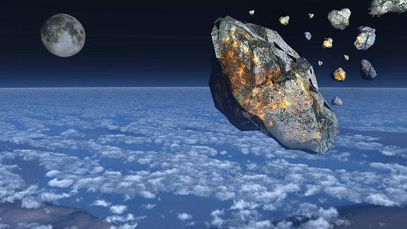 Ein Asteroid im Anflug auf die Erde
