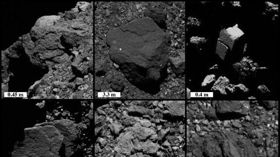Peeling-Merkmale auf einer Klippe und auf Felsbrocken mit unterschiedlicher Größe und Position auf dem Asteroiden Bennu anhand von Bildern, die mit dem Raumschiff OSIRIS-REX der NASA aufgenommen wurden.