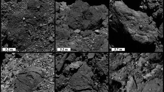 Beispiele für Disaggregation (oben) und lineare Brüche (unten) in Felsbrocken auf dem Asteroiden Bennu aus Bildern, die mit dem Raumschiff OSIRIS-REX der NASA aufgenommen wurden.