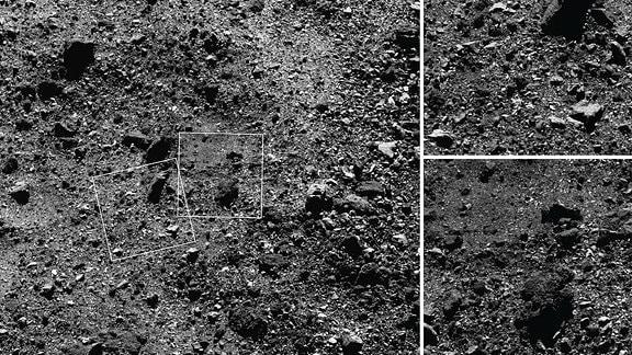 """Dieses Trio von Bildern, die vom NASA-Raumschiff OSIRIS-REx aufgenommen wurden, zeigt eine Weitwinkelaufnahme und zwei Nahaufnahmen einer Region auf der Nordhalbkugel des Asteroiden Bennu. Das Weitwinkelbild (links), das mit der MapCam-Kamera des Raumfahrzeugs aufgenommen wurde, zeigt ein 180 Meter breites Gebiet mit vielen Felsen, einschließlich einiger großer Felsbrocken, und einem """"Teich"""" aus Regolith, der größtenteils frei von großen ist Felsen. Die beiden näheren Bilder, die mit der hochauflösenden PolyCam-Kamera aufgenommen wurden, zeigen Details von Bereichen im MapCam-Bild, insbesondere einen 15-Meter-Felsbrocken (oben) und den Regolith-Teich (Bot)."""