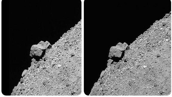 Diese stereoskopischen Bilder bieten eine 3D-Ansicht des großen 52-Meter-Felsens, der aus der südlichen Hemisphäre des Asteroiden Bennu und den ihn umgebenden felsigen Hängen herausragt.