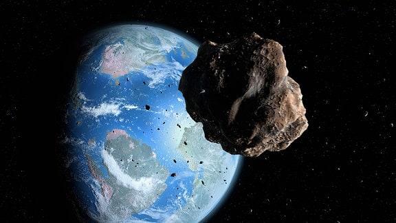 Grafik: Asteroid fliegt in Richtung Erde