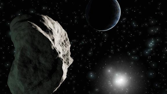 Illustration eines Asteroiden, im Hintergrund die Erde