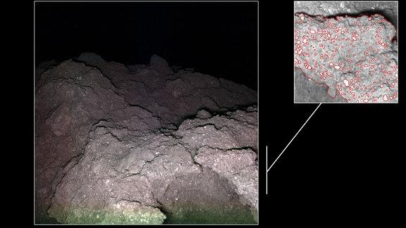 Die Wissenschaftler im MASCam-Team identifizierten auf den Bildern, die während des Abstiegs von MASCOT und nach der Landung aufgenommen wurden, zwei Arten von Gesteinen: die etwas helleren