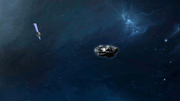 Eine Sonde im Weltall nahe einem Asteroiden.