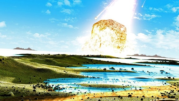 Illustration eines Asteroideneinschlags