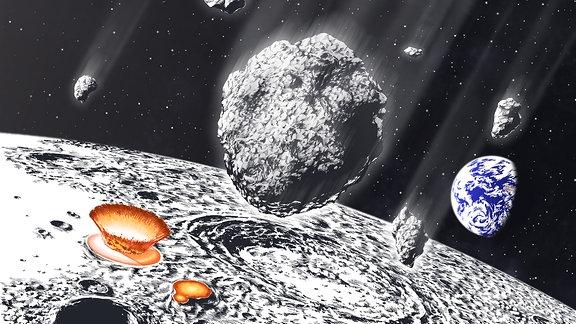 Illustration eines Asteroidenschauers auf das Erde-Mond-System