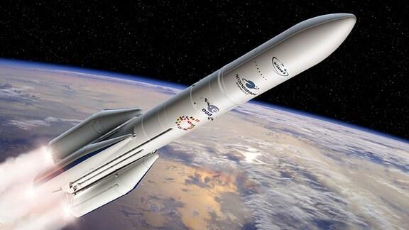 """Eine künstlerische Darstellung der """"Ariane 6""""-Rakete."""