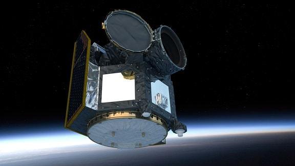 Grafische Darstellung des CHEOPS-Weltraumteleskops.