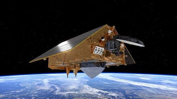 Ein Satellit über der Erde